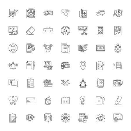 Office tools line icons, signs, symbols vector, linear illustration set
