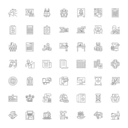 Business valuation line icons, signs, symbols vector, linear illustration set