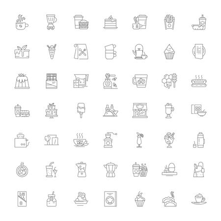 Cafeteria line icons, signs, symbols vector, linear illustration set