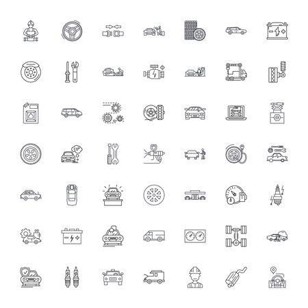 Car service line icons, signs, symbols vector, linear illustration set