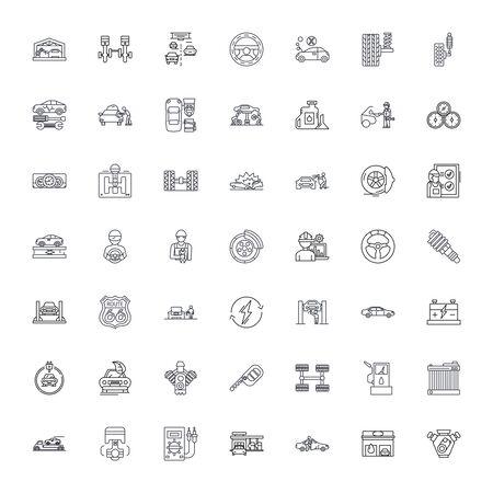 Car maintenance line icons, signs, symbols vector, linear illustration set
