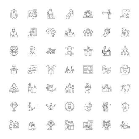 Iconos de línea de trayectoria profesional, signos, símbolos vectoriales, conjunto de ilustraciones lineales