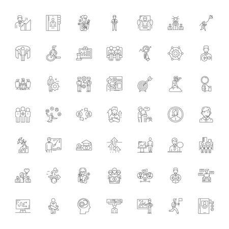 Career line icons, signs, symbols vector, linear illustration set