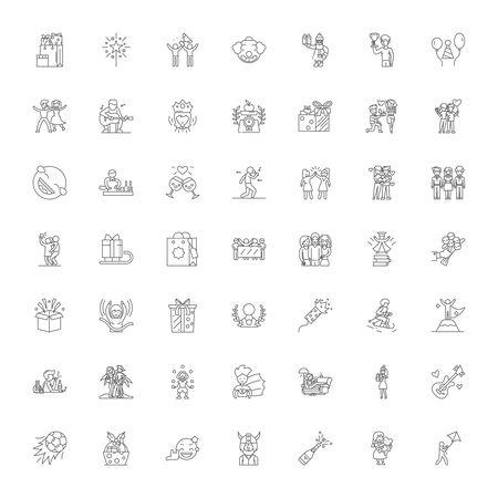 Social event line icons, signs, symbols vector, linear illustration set