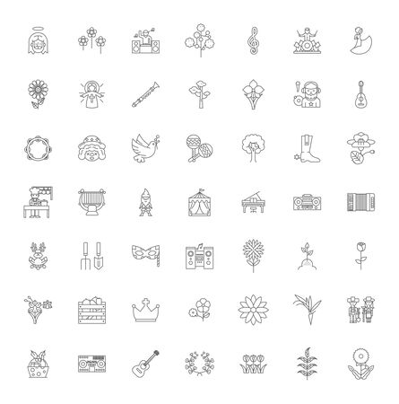 Charity line icons, signs, symbols vector, linear illustration set