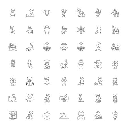 Baby line icons, signs, symbols vector, linear illustration set Ilustracja