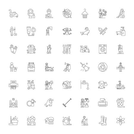 Cleaning company line icons, signs, symbols vector, linear illustration set