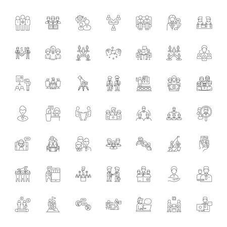 Happy clients line icons, signs, symbols vector, linear illustration set