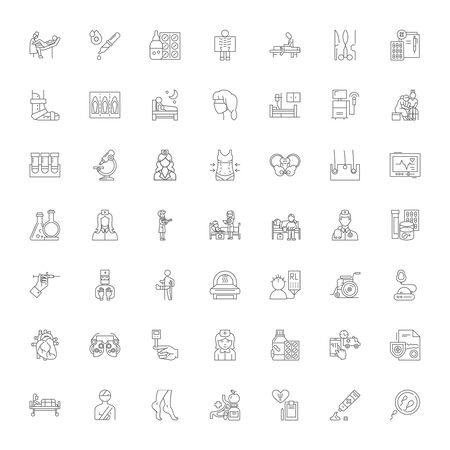 Clinic line icons, signs, symbols vector, linear illustration set