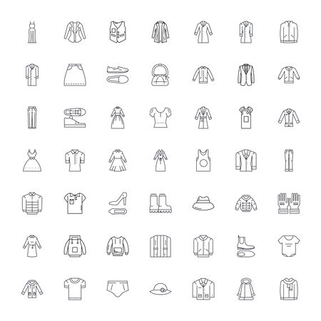 Clothes line icons, signs, symbols vector, linear illustration set Stock Illustratie