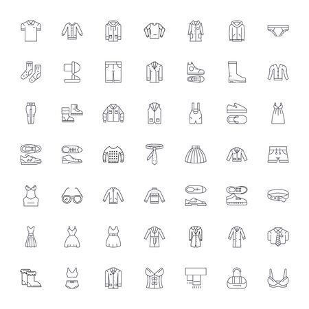 Clothing line icons, signs, symbols vector, linear illustration set Stock Illustratie