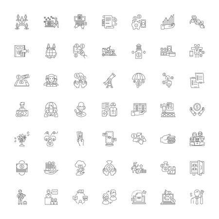 Commerce organization line icons, signs, symbols vector, linear illustration set