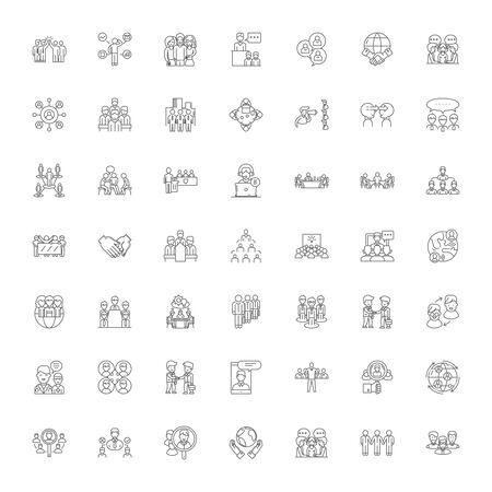 Community System line icons, signs, symbols vector, linear illustration set