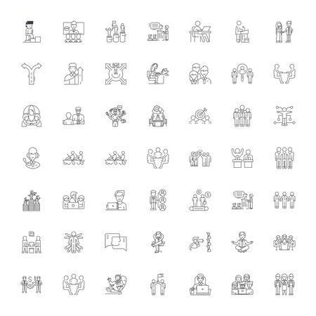Icônes de ligne ferme, signes, vecteur de symboles, ensemble d'illustrations linéaires Vecteurs