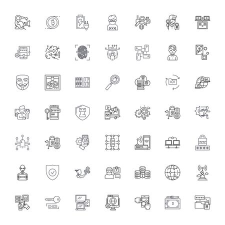 Computer security line icons, signs, symbols vector, linear illustration set