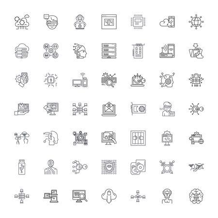 Computer security system line icons, signs, symbols vector, linear illustration set Illustration
