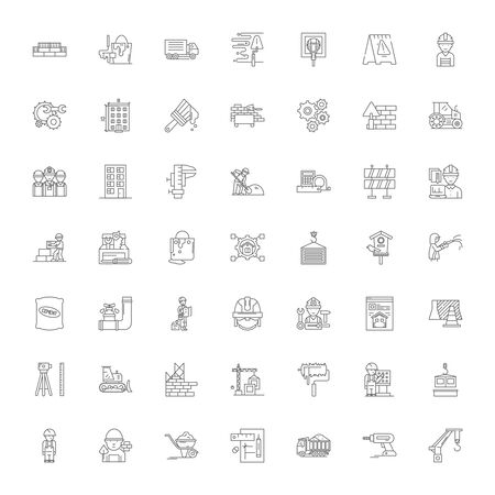 Construction line icons, signs, symbols vector, linear illustration set Illusztráció