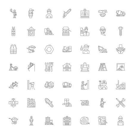 Aannemer lijn pictogrammen, tekens, symbolen vector, lineaire afbeelding set