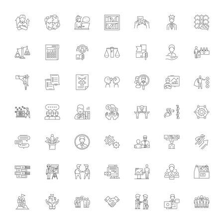 Consulting business line icons, signs, symbols vector, linear illustration set Ilustracja