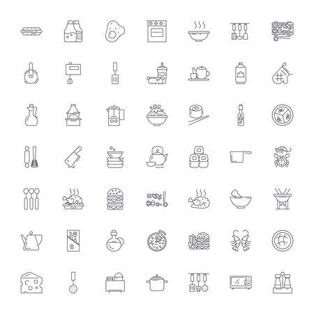 Cooking, restaurant line icons, signs, symbols vector, linear illustration set