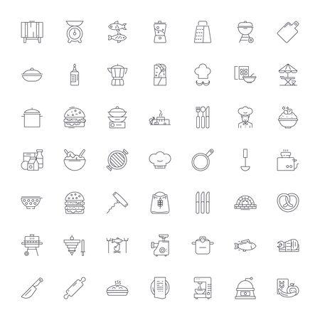 Restaurant kitchen line icons, signs, symbols vector, linear illustration set Çizim