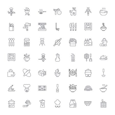 Cooking line icons, signs, symbols vector, linear illustration set
