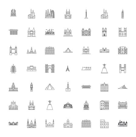 Famous landmarks line icons, signs, symbols vector, linear illustration set