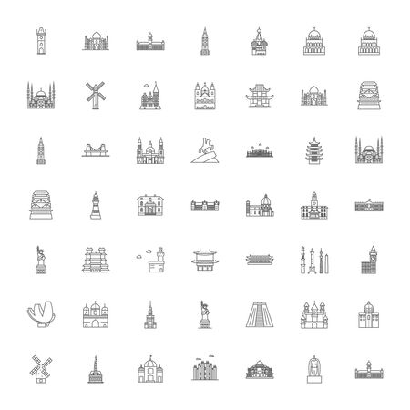 Famous travel landmarks line icons, signs, symbols vector, linear illustration set
