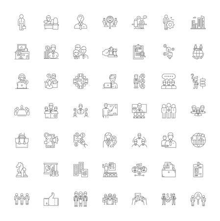 Enterprise system line icons, signs, symbols vector, linear illustration set