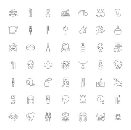 Cosmetics line icons, signs, symbols vector, linear illustration set  イラスト・ベクター素材