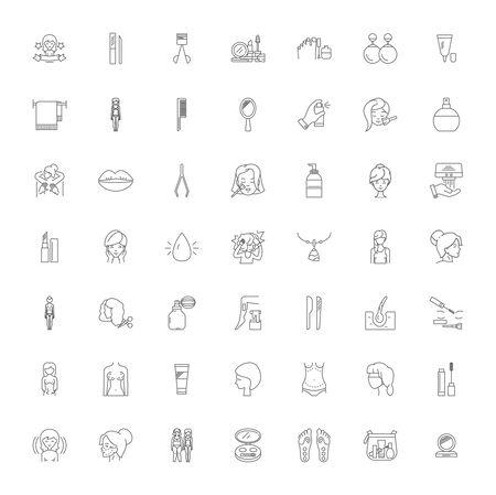 Kosmetiklinie Ikonen, Zeichen, Symbolvektor, linearer Illustrationssatz Vektorgrafik