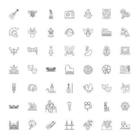 Culture line icons, signs, symbols vector, linear illustration set