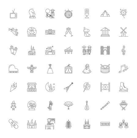 Culture organization line icons, signs, symbols vector, linear illustration set