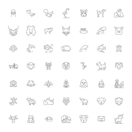 Cute animals line icons, signs, symbols vector, linear illustration set 向量圖像