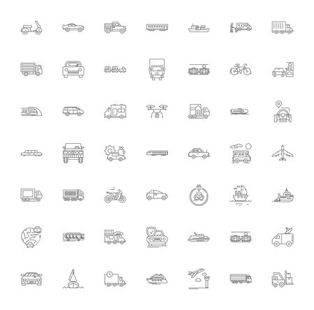 Delivery and logistics line icons, signs, symbols vector, linear illustration set