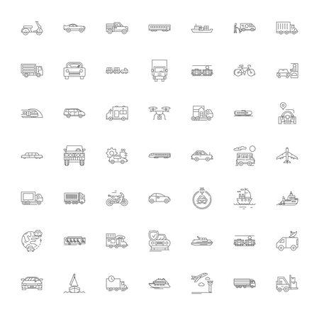 Icone della linea di consegna e logistica, segni, simboli vettoriali, set di illustrazioni lineari