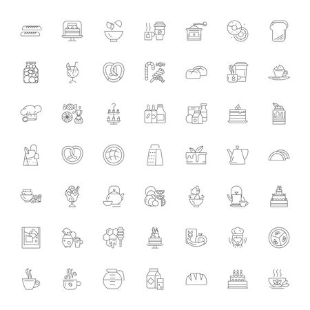 Dessert line icons, signs, symbols vector, linear illustration set