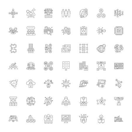 Distribution workflow line icons, signs, symbols vector, linear illustration set Illustration