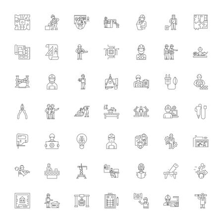Diy line icons, signs, symbols vector, linear illustration set Illusztráció