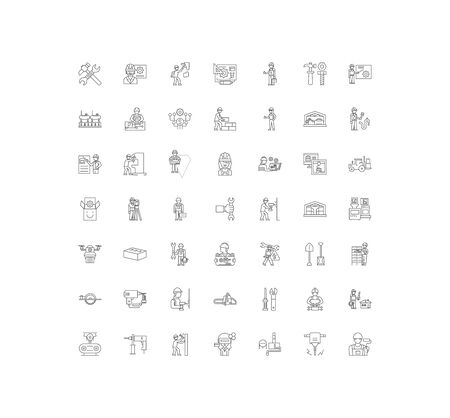 Diy store line icons, signs, symbols vector, linear illustration set Ilustração