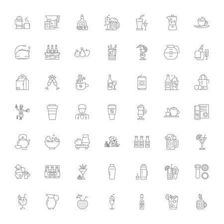 Drinks line icons, signs, symbols vector, linear illustration set