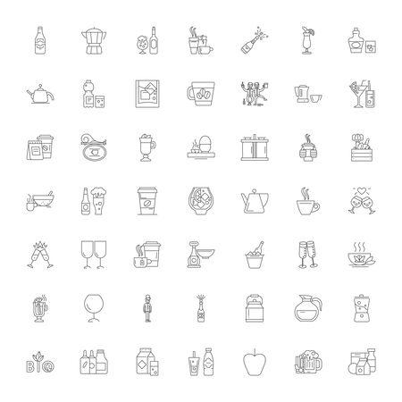 Beverage line icons, signs, symbols vector, linear illustration set