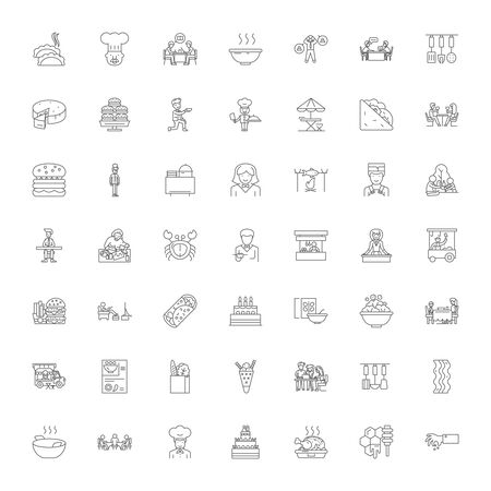 Lunch line icons, signs, symbols vector, linear illustration set