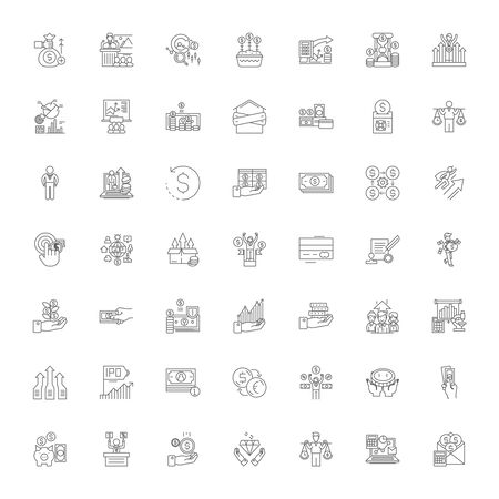 Economics line icons, signs, symbols vector, linear illustration set