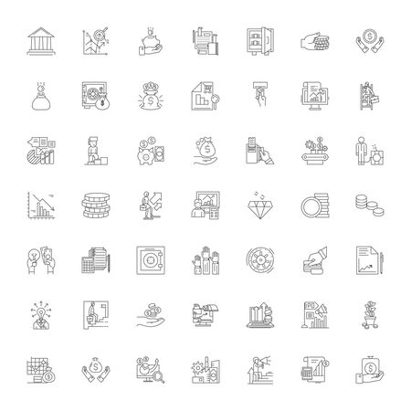 Economics and statistics line icons, signs, symbols vector, linear illustration set