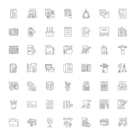 Editing line icons, signs, symbols vector, linear illustration set