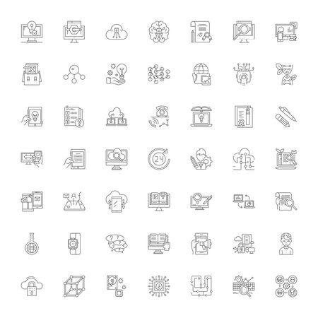 Proficiency line icons, signs, symbols vector, linear illustration set