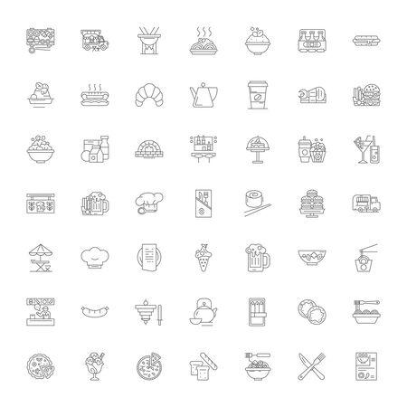 Fast food line icons, signs, symbols vector, linear illustration set Vettoriali