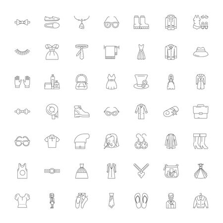 Fashion style line icons, signs, symbols vector, linear illustration set