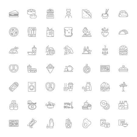 Fast food restaurant line icons, signs, symbols vector, linear illustration set
